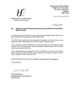 Update for Parents about confirmed case of Covid-19 at St Mark